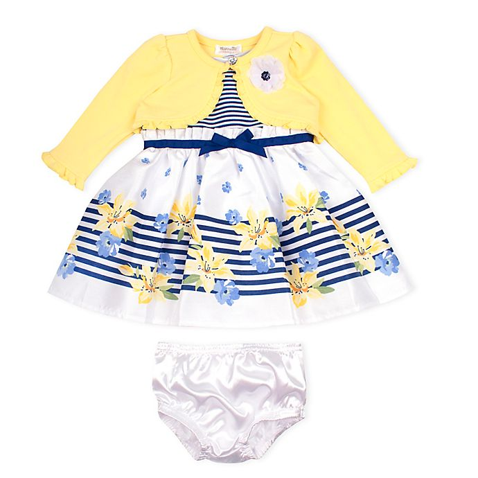 Alternate image 1 for Nanette Baby® 2-Piece Shantung Dress and Knit Shrug Set in Yellow