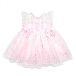 Nannette Baby® Lace Overlay 2-Bow Dress in Pink