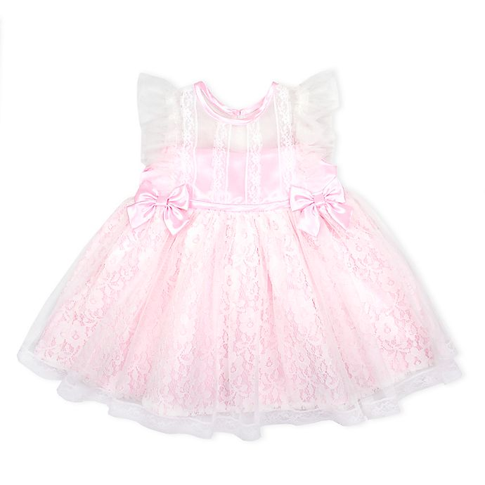 Alternate image 1 for Nannette Baby® Lace Overlay 2-Bow Dress in Pink