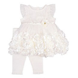 Nanette Baby® 2-Piece Mesh Knit Rosette Dress and Legging Set in Ivory