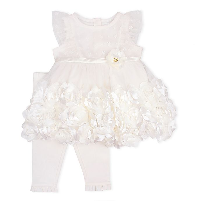 Alternate image 1 for Nanette Baby® 2-Piece Mesh Knit Rosette Dress and Legging Set in Ivory