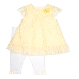 Nanette Baby® 2-Piece Lace Scallop Edge Dress and Knit Legging Set in Yellow