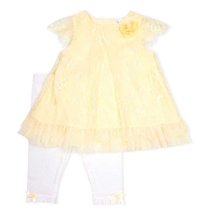 Alternate image 1 for Nanette Baby® 2-Piece Lace Scallop Edge Dress and Knit Legging Set in Yellow