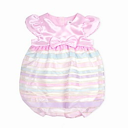 Nanette Baby® Satin Ribbon Striped Romper