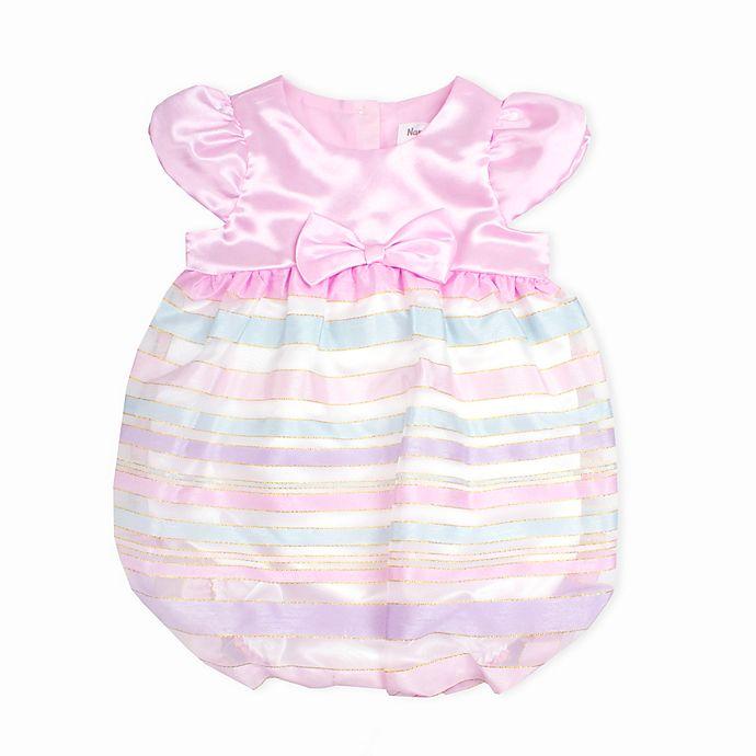 Alternate image 1 for Nanette Baby® Satin Ribbon Striped Romper