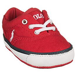 Ralph Lauren Layette Polo Lace Up Shoe in Red