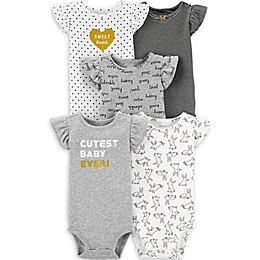 carter's® 5-Pack Gold Cute Flutter-Sleeve Bodysuits