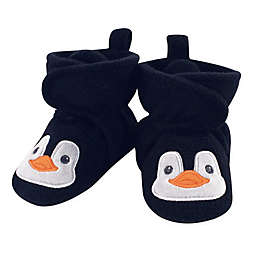 Hudson Baby® Size 0-6M Penguin Fleece Scooties in Navy