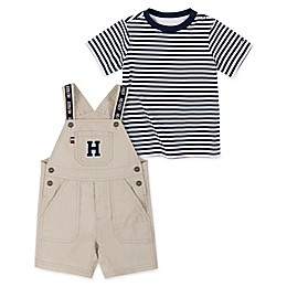 Tommy Hilfiger® 2-Piece Shortall Overall and T-Shirt Set in Navy/Khaki