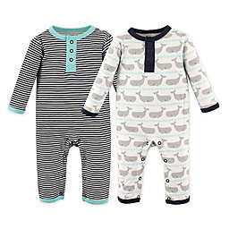 Hudson Baby® Size 9-12M 2-Pack Whale Coveralls in Blue