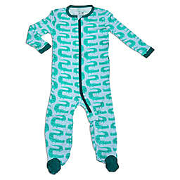 Silkberry Baby® Zigzag Crocs Long Sleeve Footie Pajama in Green