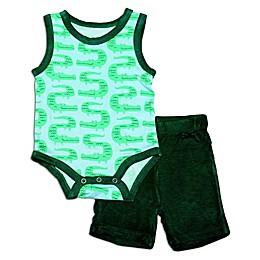 Silkberry Baby® 2-Piece Croc Tank Bodysuit and Short Set in Green