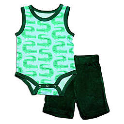 Silkberry Baby® 2-Piece Croc Tank Bodysuit and Short Set in Green