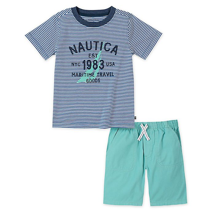 Alternate image 1 for Nautica®  2-Piece Shirt and Short Set in Mint
