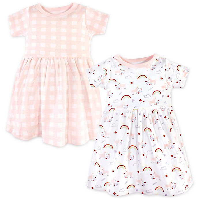 Alternate image 1 for Luvable Friends® 2-Pack Unicorn Dresses in Pink