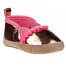 Laura Ashley® Espadrille Mini Pom Crib Shoe in Rose/Gold