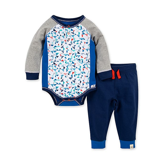 Alternate image 1 for Burt's Bees Baby® 2-Piece Organic Cotton Pyramid Bodysuit and Pant Set in Blue
