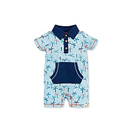 Burt's Bees Baby® Organic Cotton Palm Trees Polo Romper in Blue