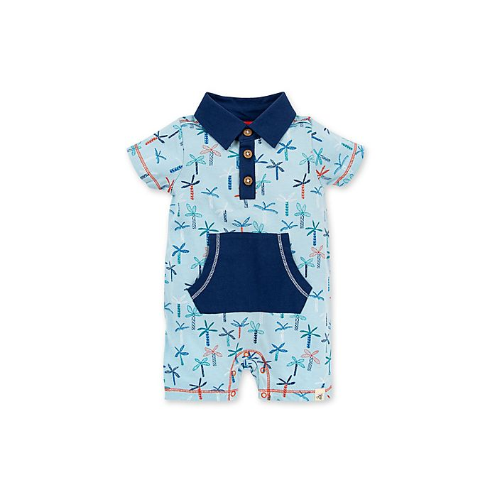 Alternate image 1 for Burt's Bees Baby® Organic Cotton Palm Trees Polo Romper in Blue