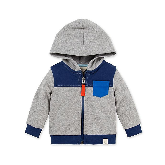 Alternate image 1 for Burt's Bees Baby® Organic Cotton Colorblock Hoodie in Grey/Blue