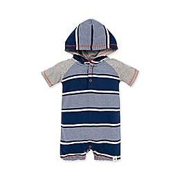 Burt's Bees Baby® Organic Cotton Stripe Hooded Romper in Blue