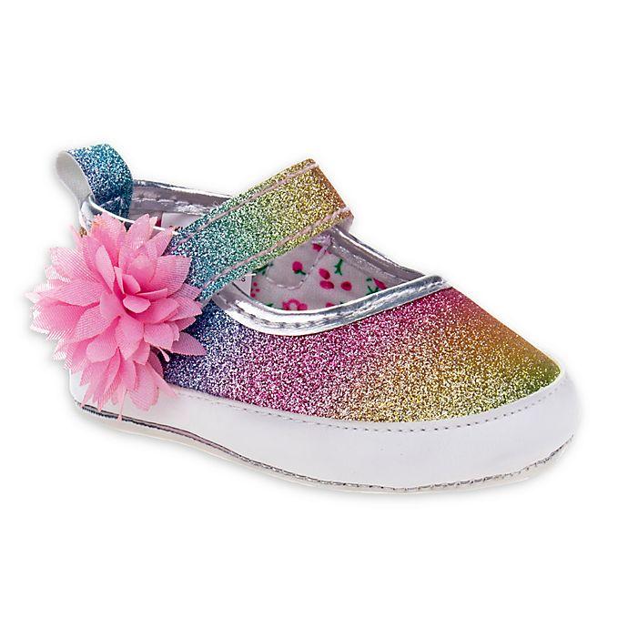 Alternate image 1 for Laura Ashley® Mary Jane Glitter Crib Shoe