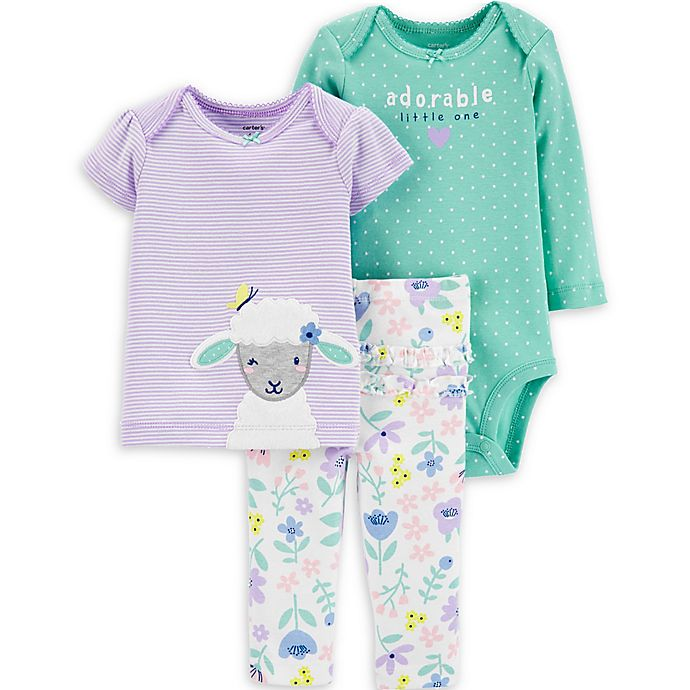 Alternate image 1 for carter's® 3-Piece Sheep Layette Set in Lilac