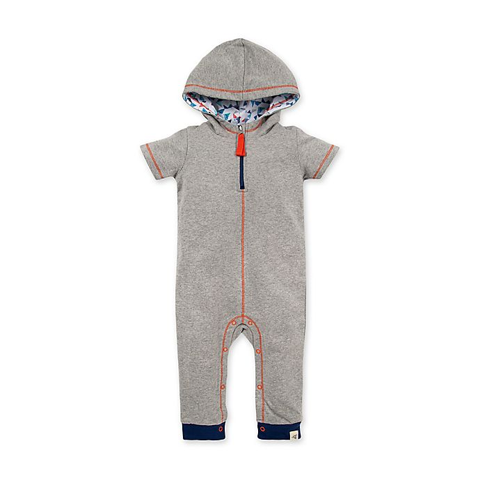 Alternate image 1 for Burt's Bees Baby® Organic Cotton Hooded Coverall in Grey/Orange