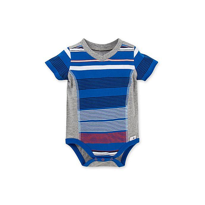 Alternate image 1 for Burt's Bees Baby® Organic Cotton Multi-Stripe Bodysuit in Blue