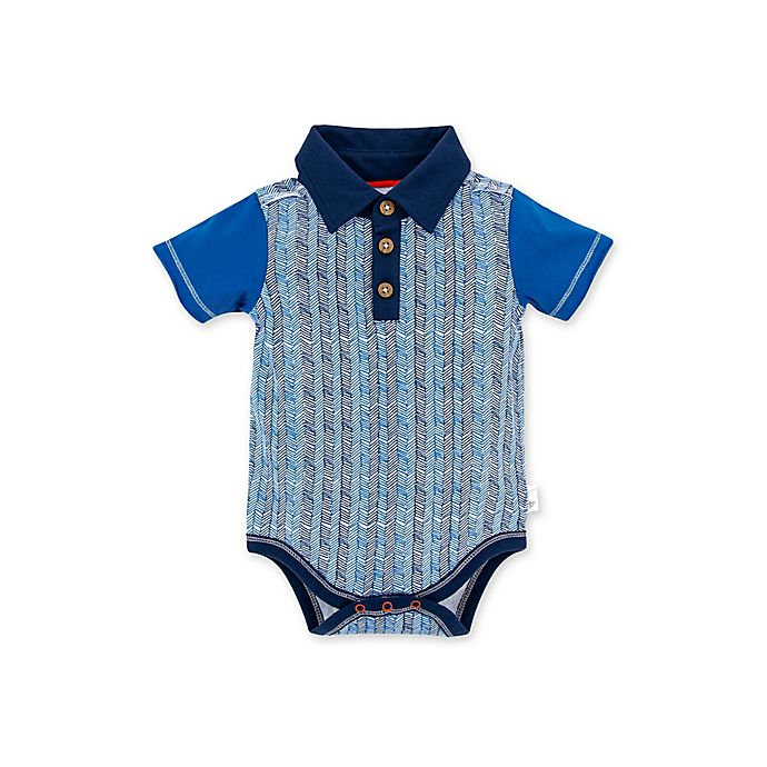 Alternate image 1 for Burt's Bees Baby® Organic Cotton Chevron Sticks Polo Bodysuit in Blue
