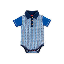Burt's Bees Baby® Organic Cotton Chevron Sticks Polo Bodysuit in Blue