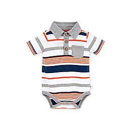 Burt's Bees Baby® Organic Cotton Multi-Stripe Polo Bodysuit in Blue