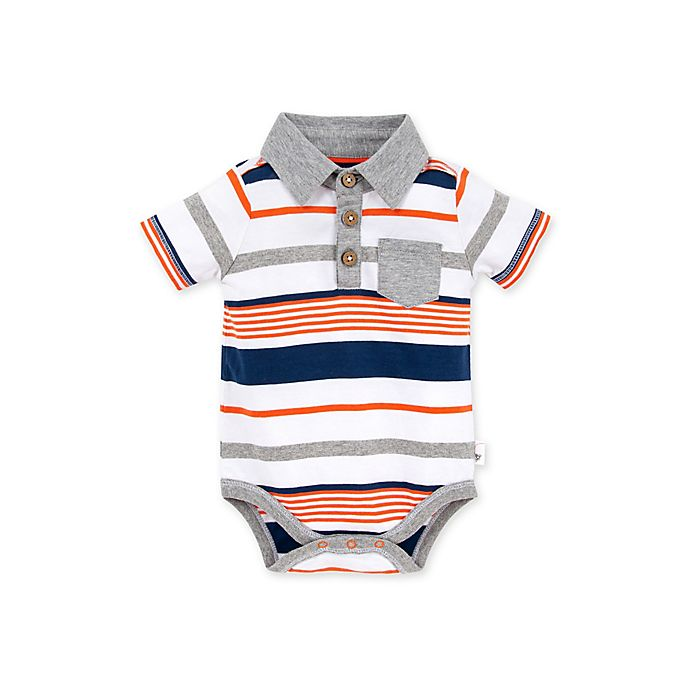 Alternate image 1 for Burt's Bees Baby® Organic Cotton Multi-Stripe Polo Bodysuit in Blue