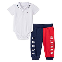 Tommy Hilfiger® 2-Piece Polo Bodysuit and Pant Set in White/Red/Blue