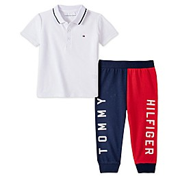 Tommy Hilfiger® 2-Piece Polo Shirt and Pant Set in White/Red/Blue