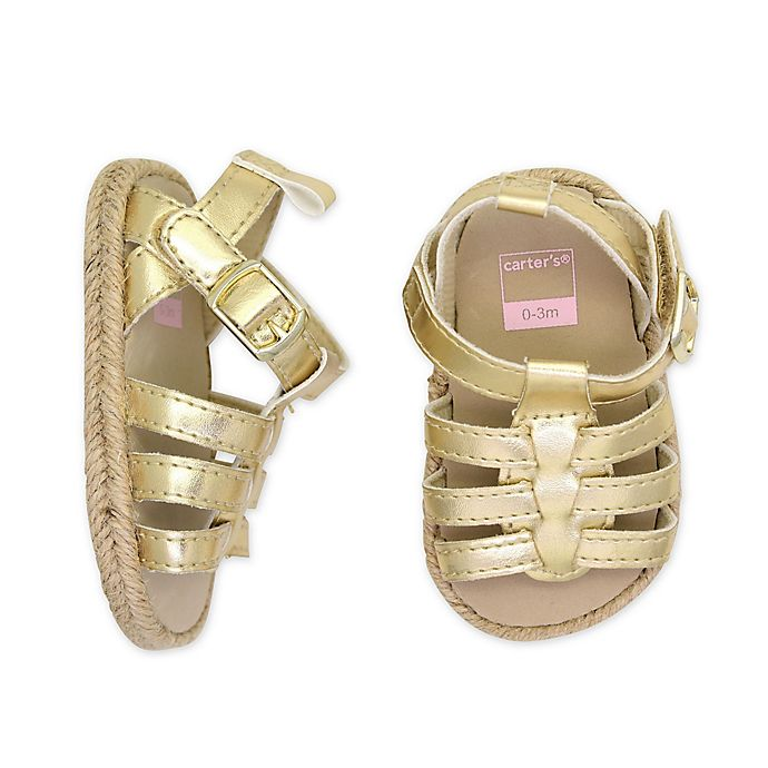 Alternate image 1 for carter's® Metallic Espadrille Sandal in Gold