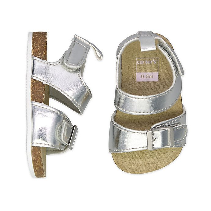 Alternate image 1 for carter's® Metallic Cork Sole Sandal in Silver