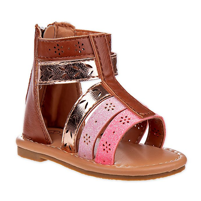 Alternate image 1 for Laura Ashley® Size 3-6M Multi Band Sandal in Brown
