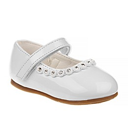 Laura Ashley Mary Jane Shoe with Rhinestone Trim in White