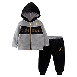Jordan® 2-Piece Outline Velour Hoodie and Jogger Set in Black