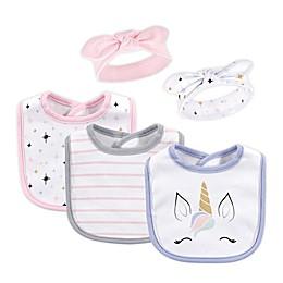 Hudson Baby® 5-Piece Unicorn Lashes Bib and Headband Set in Pink