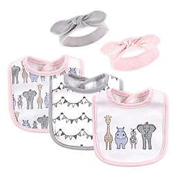 Hudson Baby® 5-Piece Safari Bib and Headband Set in Pink