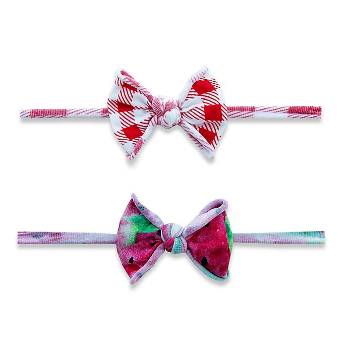 Alternate image 1 for Baby Bling One Size 2-Pack Melon Picnic Mini Classic Knot Headbands