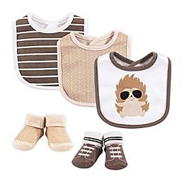 Hudson Baby® Size 0-9M 5-Piece Mr. Hedgehog Bib and Sock Set in Brown