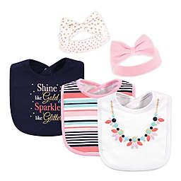 Little Treasure 5-Piece Sparkle Necklace Bib and Headband Set in Navy