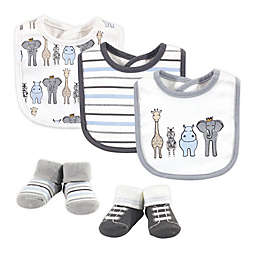 Hudson Baby® Size 0-9M 5-Piece Royal Safari Bib and Sock Set in Cream
