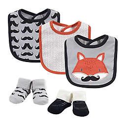 Hudson Baby® Size 0-9M 5-Piece Mr. Fox Bib and Sock Set in Orange