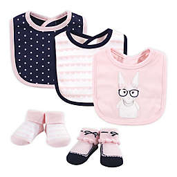 Hudson Baby® Size 0-9M 5-Piece Hip Bunny Bib and Sock Set in Pink