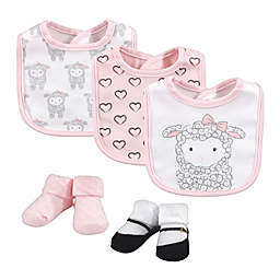 Hudson Baby® Size 0-9M 5-Piece Little Lamb Bib and Sock Set in Pink