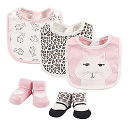 Hudson Baby® Size 0-9M 5-Piece Kitty Bib and Sock Set in Pink